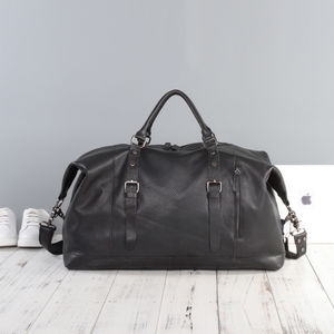 Eazo Classic Leather Travel Holdall - for him