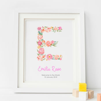 Personalised Baby Girl Nursery Art Print