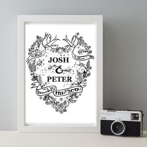 Personalised Mr And Mr Wedding Tattoo Gift Print - view all
