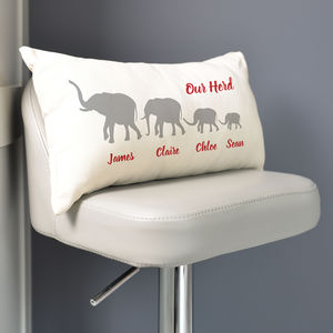 Personalised Herd Of Elephants Family Cushion - mum loves home sweet home