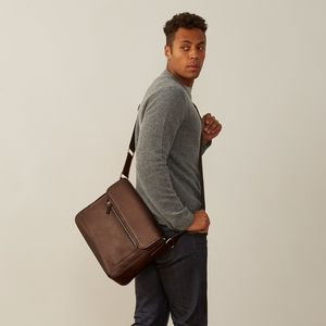 Personalised Leather Laptop Shoulder Bag 'Livorno' - mens