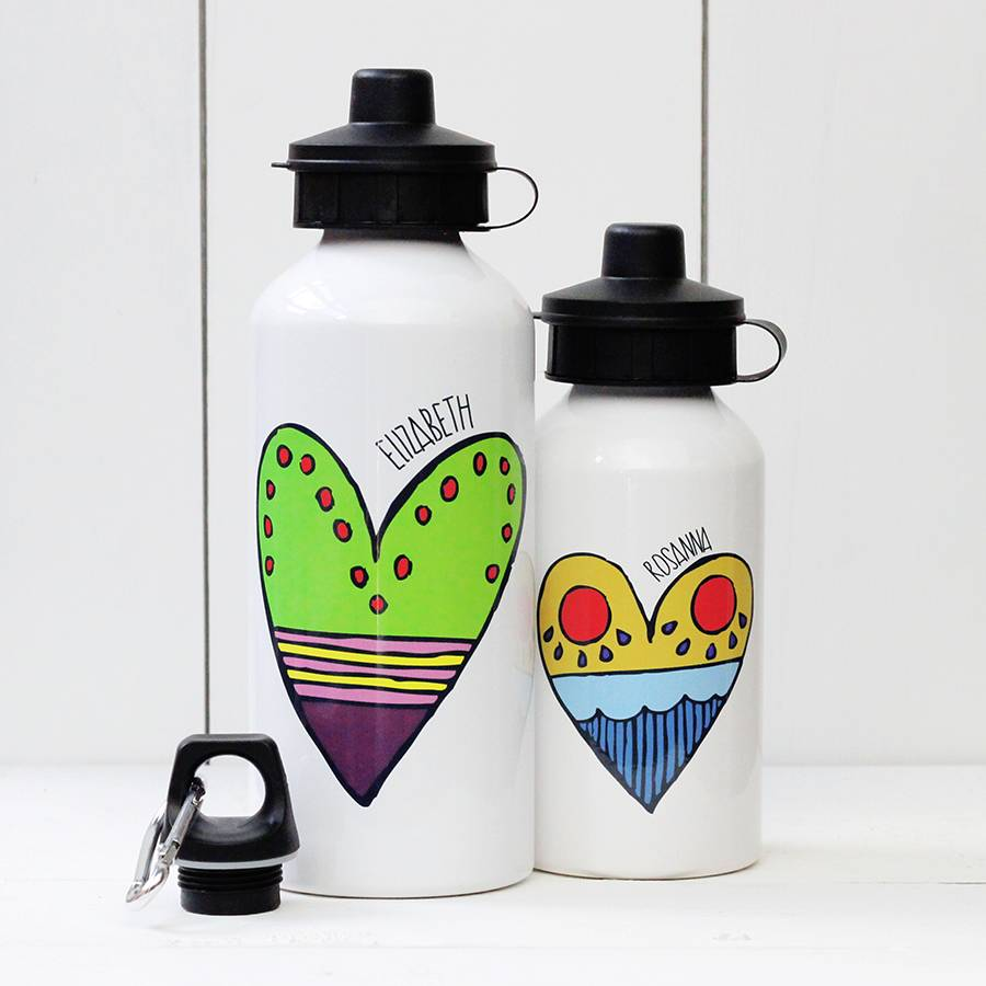 personalised heart water bottle by a piece of ...