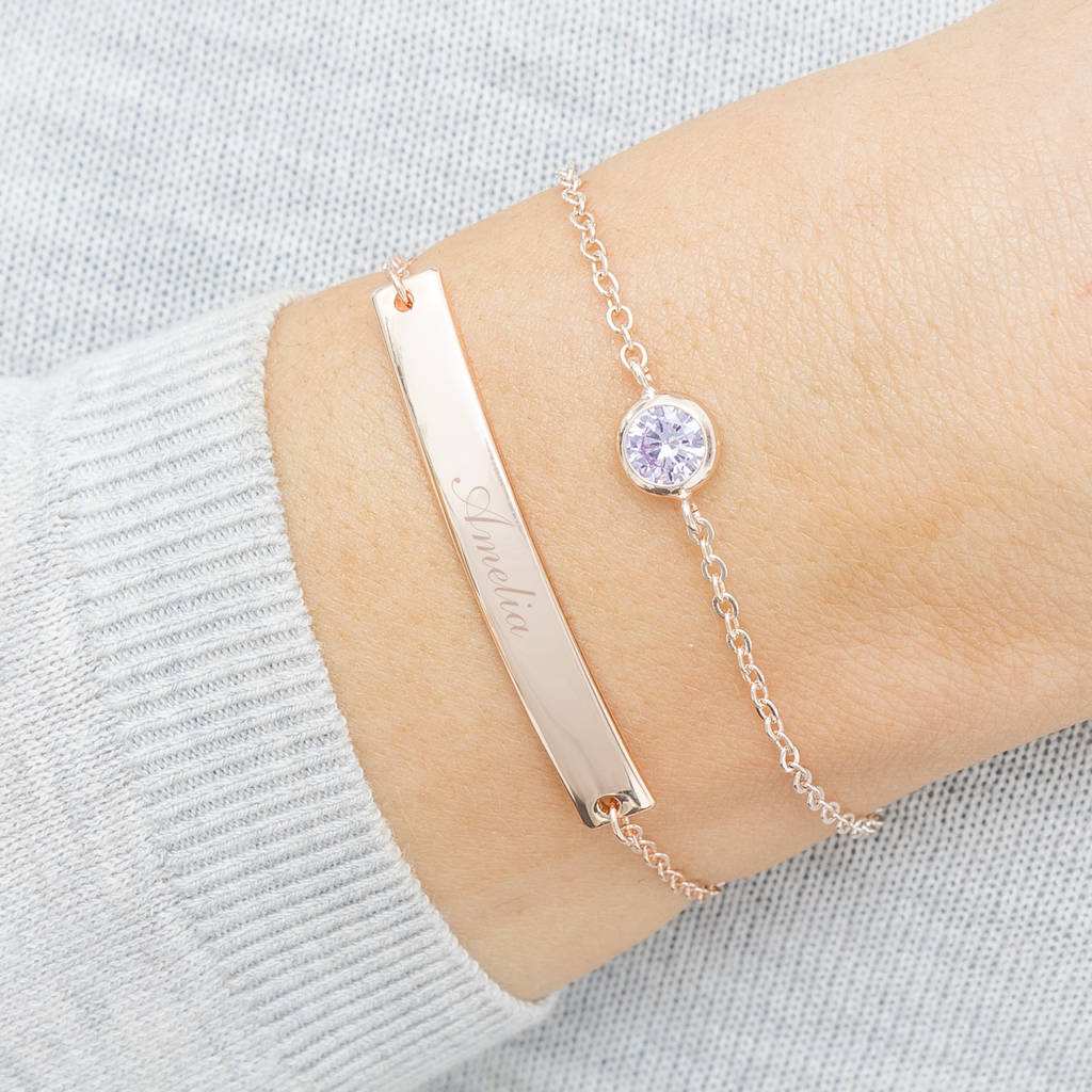 b2085c5e7 personalised bar and birthstone bracelet set by bloom boutique ...