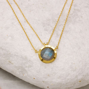 18ct Gold Vermeil Double Chain Gemstone Necklace - gifts for women