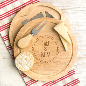 Personalised Boho Style Engraved Cheese Board Set - winter sale