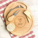 Personalised Boho Style Engraved Cheese Board Set