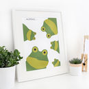 Frog Family Selfie, Personalised Print