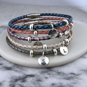 Leather Personalised Initial Bracelet - bracelets & bangles