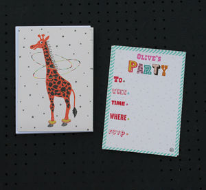 12 Child's Party Invites Giraffe Design