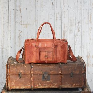 Personalised Large Brown Leather Holdall - holdalls & weekend bags