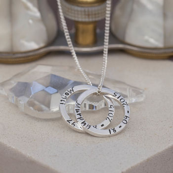 Personalised Double Silver Ring Necklace