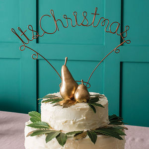 Metallic It's Christmas Cake Topper - kitchen accessories