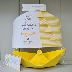 Wedding Paper Boat Card Gift Keepsake - wedding, engagement & anniversary cards