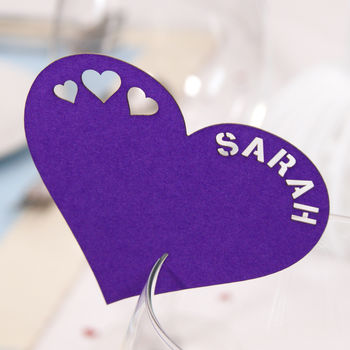 Personalised Heart Wine Glass Name Place Card