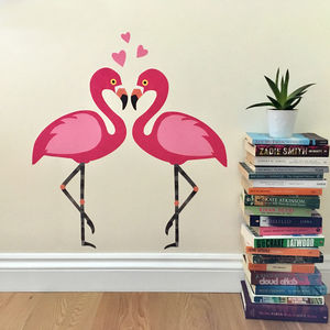 Flamingo Couple With Hearts Wall Sticker Set - wall stickers