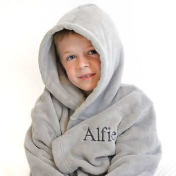 Personalised Soft Child's Dressing Gown In Grey