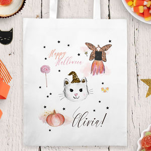 Personalised Halloween Trick Or Treat Bag 'Fairy cat' - trick or treat bags