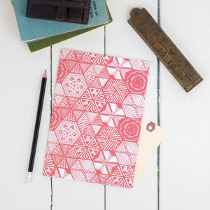 Hexie Doodle Coral Or Taupe Notebook - stationery