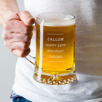 Personalised Pint Glass Beer Tankard For Him