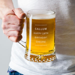 Personalised Pint Glass Beer Tankard For Him - 18th birthday gifts