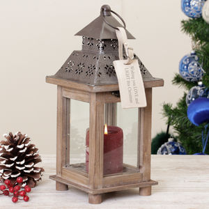 Personalised Christmas Cottage Candle Lantern Gift