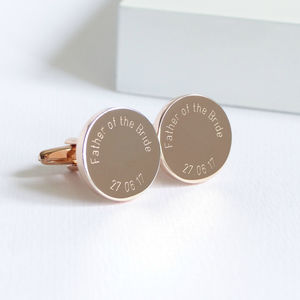 Personalised Rose Gold Father Of The Bride Cufflinks - cufflinks