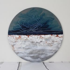 Original Circular Abstract Painting 'Winter Horizon' - prints & art sale