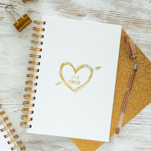 Personalised Lovers Initials Notebook - writing