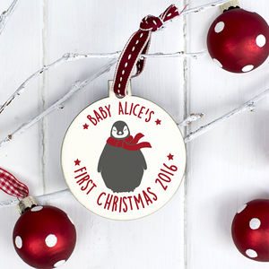 Personalised 'First Christmas' Baby Penguin Bauble - tree decorations