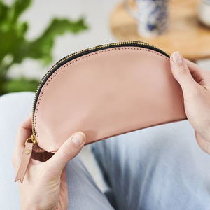 Personalised Blush Leather Make Up Bag - make-up & wash bags