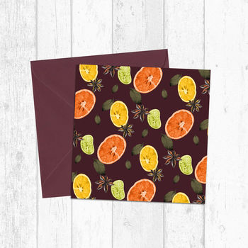 Mulled Wine Fruit And Spices Christmas Greetings Card