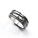 Silver Texture Bound Ring Oxydised Finish