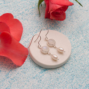 Bride's Moonstone And Pearl Earrings In Greetings Box - new in wedding styling