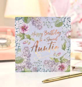 Auntie Birthday Botanical And Gold Greeting Card