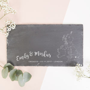 Engagement Gift Personalised Map Slate Serving Board