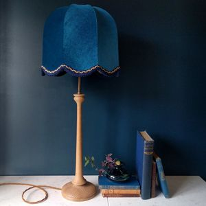Teal Velvet Vintage Oak Lamp - table lamps
