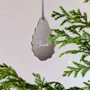 Personalised Silver Mirror Christmas Decoration