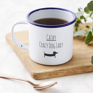 Personalised Dog Lady Enamel Mug - garden