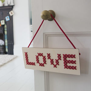 'Love' Cross Stitch Board Wall Art - gifts for mothers