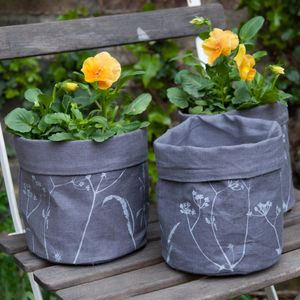 Pair Of Screen Printed Linen Cache Pots - pots & planters