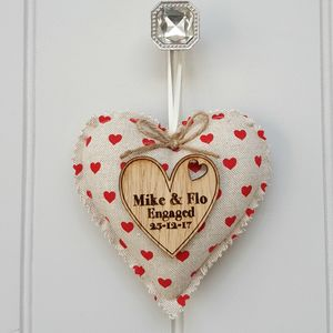 Engagement Fabric Heart With Oak Wood Heart Message - hanging decorations