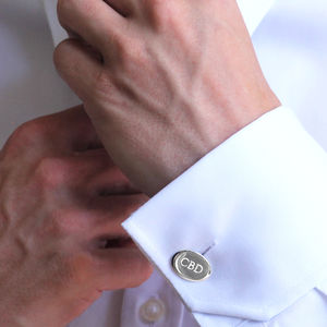 Engraved Initial Silver Cufflinks - mens