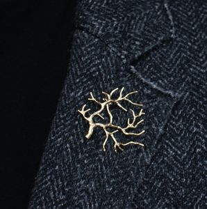 Tree Brooch Gold Plated Contemporary Brooch Pin - pins & brooches