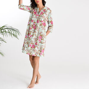 Kaftan Florence Nightdress In Blue Rose Print