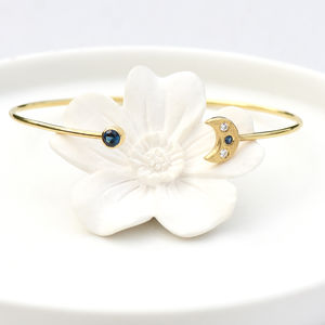 Moon And Stars Bangle In 18ct Gold - bracelets & bangles