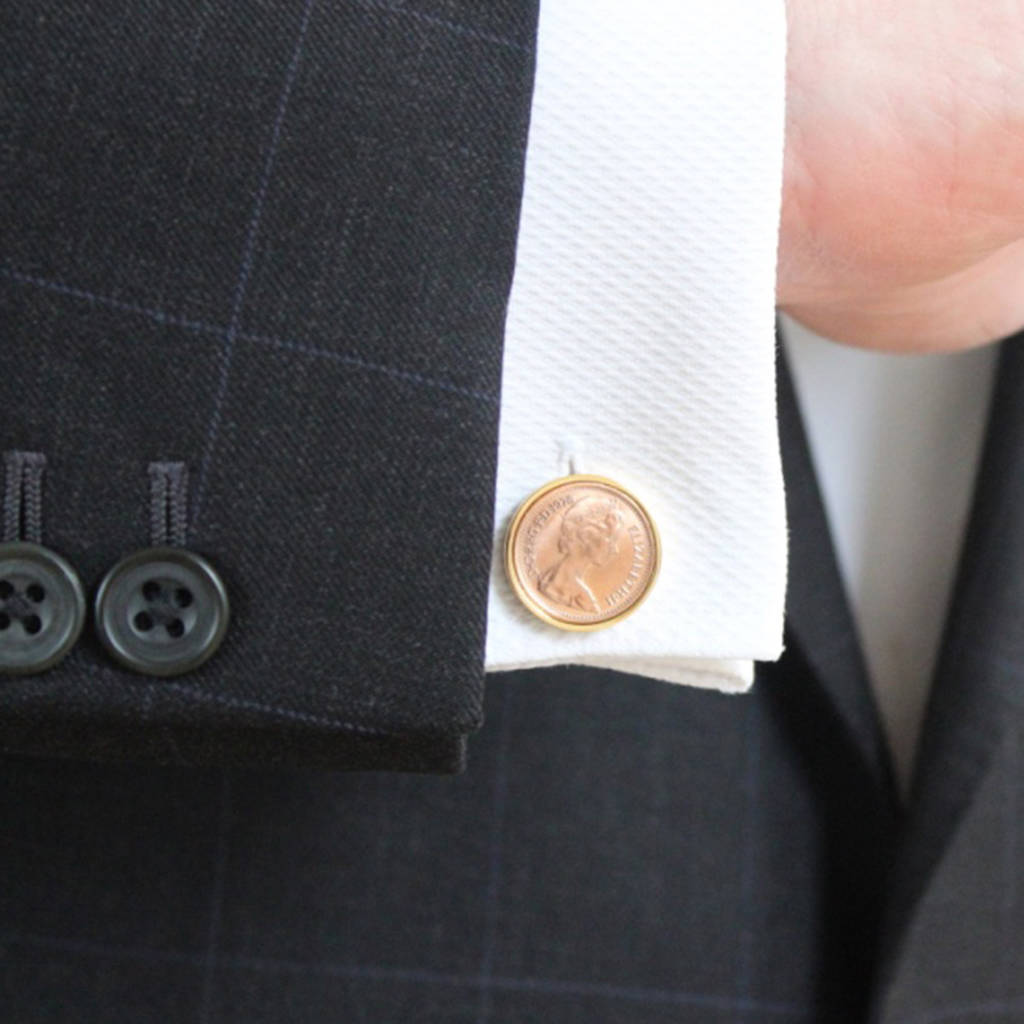Personalised Age 35 To 48 Halfpenny Cufflinks Inc  40th