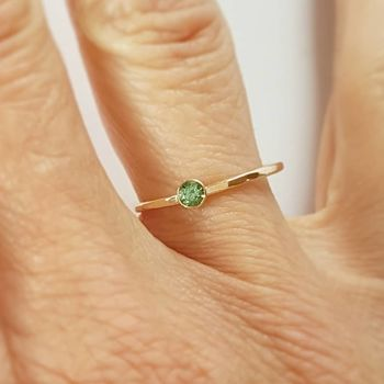 Gold And Tourmaline Solitaire Ring