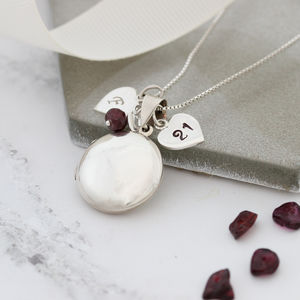 Personalised Birthstone Sterling Silver Round Locket