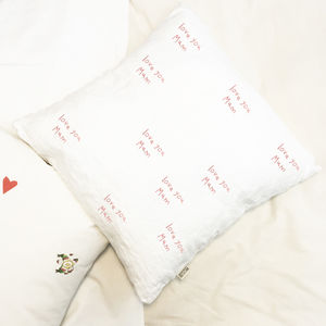 Love You Linen Cushion For Mum