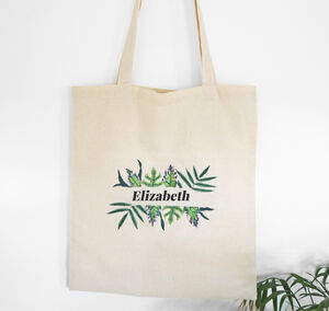Personalised Tote Bag With Tropical Leaf Embroidery